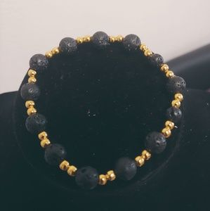 Unisex Natural Lava Beads Necklace